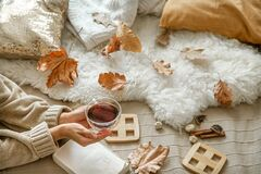 Free Cozy Autumn At Home, A Woman With Tea And A Book Stock Photo - 190881460