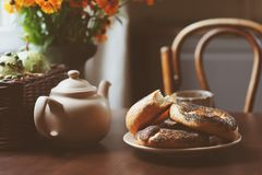 Cozy autumn breakfast on table in country house Stock Photo