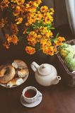 Cozy autumn breakfast on table in country house Stock Images