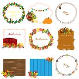 Cozy autumn collection with nine frames with leaves, pennants and other Royalty Free Stock Image