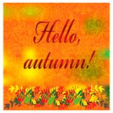 Cozy autumn illustration with fall colorful leaves Stock Image