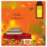 Cozy autumn illustration with plaid, books and cup of tea Stock Images