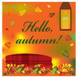 Cozy autumn illustration with plaid and candle Royalty Free Stock Photography