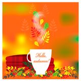 Cozy autumn illustration with plaid and cup of tea Royalty Free Stock Photography