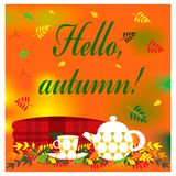 Cozy autumn illustration with plaid, kettle and cup of tea Royalty Free Stock Image
