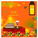 Cozy autumn illustration with plaid and mulled wine in a glass. Stock Photography