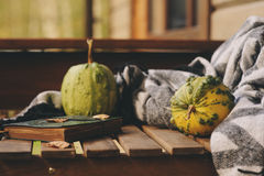 Cozy autumn morning at country house, cup of tea and warm blanket on wooden table. Still life details Stock Photos