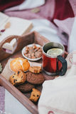 Cozy autumn picnic with tea and cookies Royalty Free Stock Images