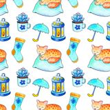 Cozy Autumn seamless pattern. Handdrawn watercolor cozy house objects on white background. Fall seasonal seamless pattern. Hygge pattern with sleepy kitty and Royalty Free Stock Photography