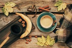 Cozy autumn still life with coffee Stock Photos