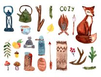 Free Cozy Autumn Watercolor Set With Home Chose And Fox.Scandinavian Style Royalty Free Stock Photos - 155849488