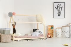 Cozy baby room in nordic design Royalty Free Stock Photo