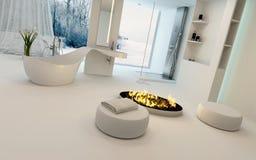 Cozy bathroom interior in winter Stock Image