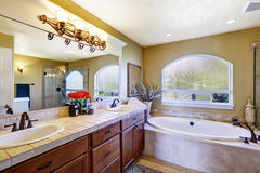 Cozy bathroom in luxury house Stock Images