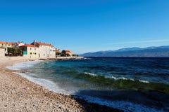 Cozy beach in a small town on Brac island - Croatia Royalty Free Stock Image