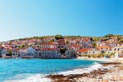 Cozy beach in a small town Postira on Brac island - Croatia Royalty Free Stock Photos