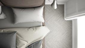 Cozy bed, top view. Cozy bed, gray bedroom, top view Stock Photo