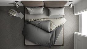 Cozy bed, top view. Cozy bed, interior design, top view Stock Photos