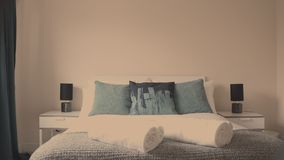 Big white bed stock footage