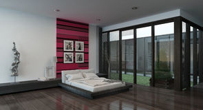 Cozy bedroom interior with red colored wall Stock Images