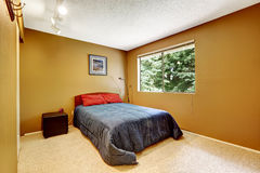 Cozy bedroom in matter soft brown color Royalty Free Stock Photography