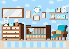Cozy boy`s baby room interior background in cartoon flat style royalty free illustration