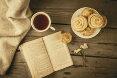 Cozy breakfast in spring or early autumn tea Stock Photography