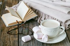 Cozy breakfast with warm plait and hot tea with milk Royalty Free Stock Photo