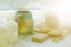 Cozy Breakfast by the window. homemade cookies. Christmas cakes. Soft photo Royalty Free Stock Photo