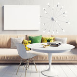 Cozy bright and modern interior living room. Relaxation area. Po. Ster mockup. 3d illustration Royalty Free Stock Images