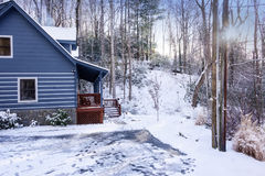 Cozy Cabin in the Winter. Cozy Cabin in western North Carolina after a snow fall Stock Photos