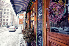 Cozy cafe. On moscow winter streets stock photography
