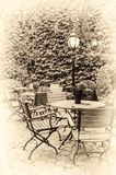 Cozy cafe terrace in retro style royalty free stock photos