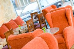 Cozy cafeteria. Comfortable armchairs in a cafeteria interior. Shallow depth of field Stock Image