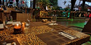 Cozy candlelight restaurant stock photo