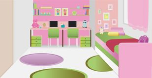 Cozy children`s bedroom interior with furniture and toys. vector illustration