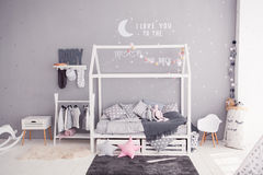 Cozy children`s bedroom in scandinavian style with diy accessories Royalty Free Stock Photography