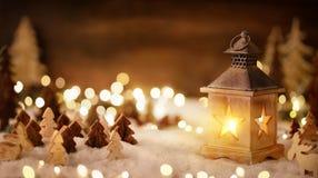 Christmas scene in warm lantern light stock photos