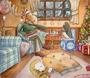 Cozy Christmas. Detailed watercolor art of a moose, penguin, and a baby polar bear, inside their cozy home on Christmas Eve Stock Photos
