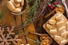 Cozy Christmas flat Lay baking Christmas Cookies stock photo
