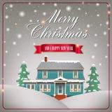 A cozy Christmas house stock illustration