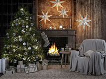 Cozy christmas interior with firelace and christmastree. 3D RENDERING Stock Photography