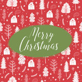 Cozy christmas seamless pattern made of winter trees and snowflakes. Cozy christmas card with seamless pattern made of winter trees, houses, snowflakes and Stock Image