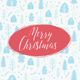 Cozy christmas seamless pattern made of winter trees and snowflakes. Cozy christmas card with seamless pattern made of winter trees, houses, snowflakes and Royalty Free Stock Photo