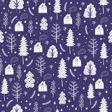 Cozy christmas seamless pattern made of winter trees and snowflakes. Royalty Free Stock Photo