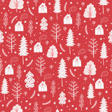 Cozy christmas seamless pattern made of winter trees and snowflakes. Cozy christmas seamless pattern made of winter trees, houses and snowflakes in vector Stock Images