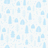 Cozy christmas seamless pattern made of winter trees and snowflakes. Stock Photos