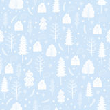 Cozy christmas seamless pattern made of winter trees and snowflakes. Stock Photography
