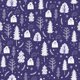 Cozy christmas seamless pattern made of winter trees and snowflakes. Royalty Free Stock Photography