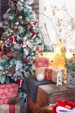 Cozy Christmas still life with a lantern in the form of a star and a New Year tree. Christmas composition royalty free stock image